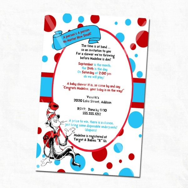 Dr Seuss Baby Shower Invitations Printable Free With The