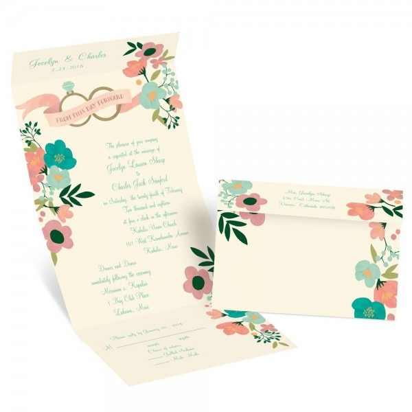 Retro Floral Seal And Send Invitation