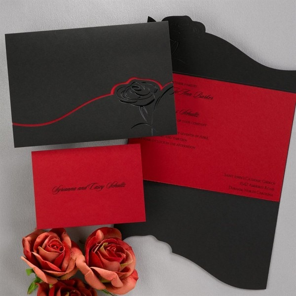 Dramatic Rose Black And Red Invitation