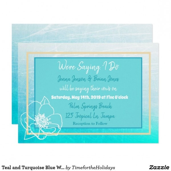 Teal And Turquoise Blue White Flower Wedding Invitation In 2018