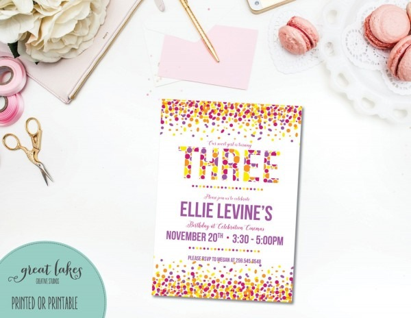 Sprinkle Third Birthday Invitation, Girls 3rd B