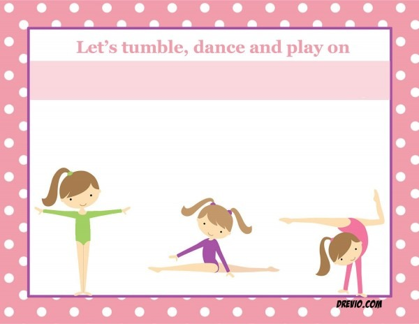 Free Printable Gymnastic Birthday Invitations