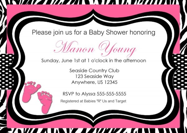 Pink Zebra Print Baby Shower Or Bridal Shower Invitation