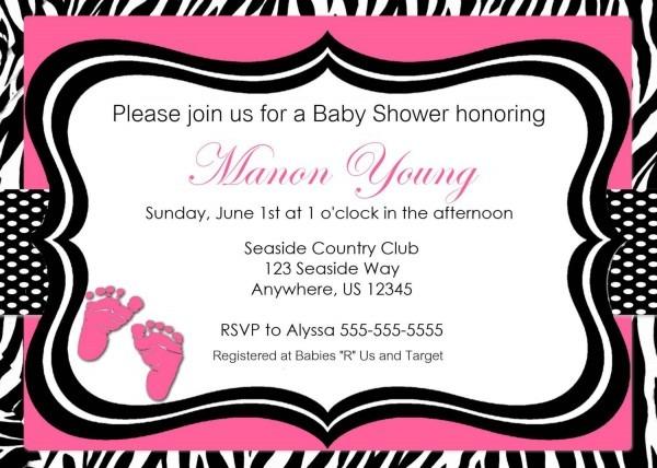 Pink Zebra Print Baby Shower Or Bridal Shower Invitation