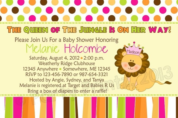 Queen Of The Jungle Baby Shower Invitations