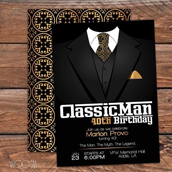 Classic Man Birthday Invitation Available On Etsy!  30thbirthday