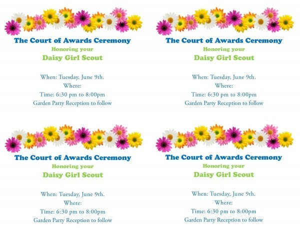 Free Girl Scout Invitations  Court Of Awards Garden Party
