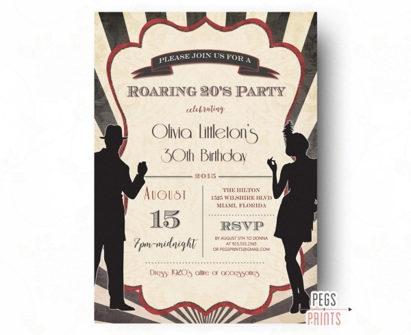 Printable Roaring 20s Invitation, Roaring 20s Birthday Invitation