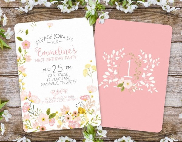 First Birthday Invitation   Girl Floral Invitation   Garden Party
