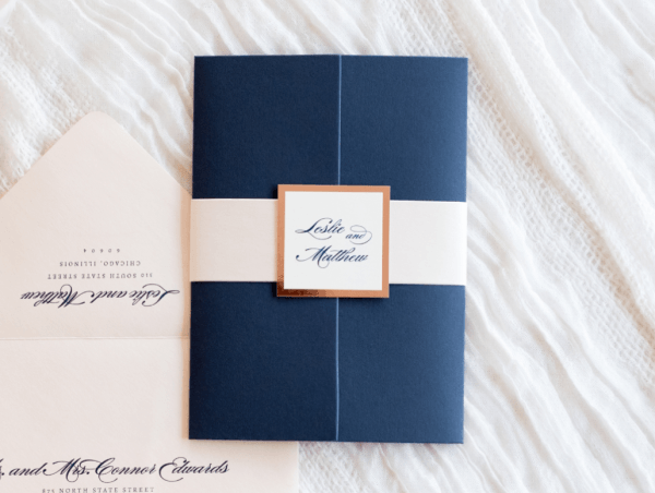 Elegant & Formal Wedding Invitation In Navy Blue, Blush Shimmer