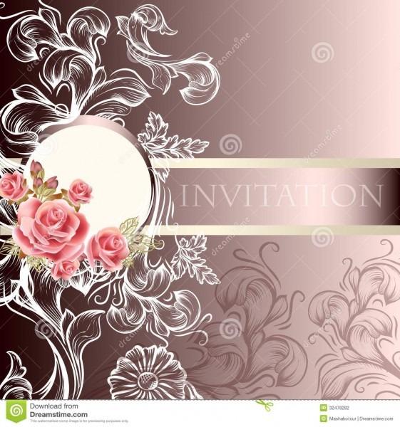 Elegant Wedding Invitation Card In Pastel Tones Stock Vector