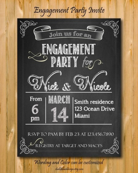 Engagement Party Invitation Printable, Custom Chalkboard Invite