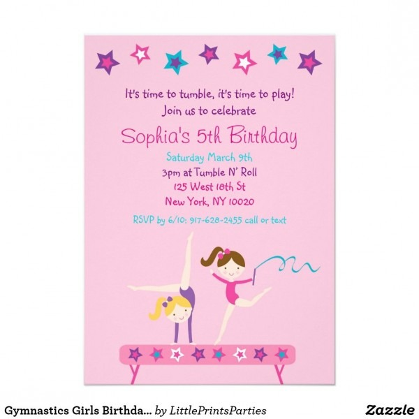 Gymnastics Girls Birthday Invitations