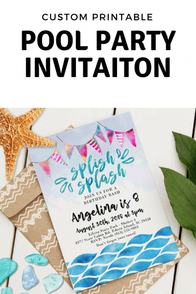 Printable, Custom Party Invitations For Our Next Pool Party