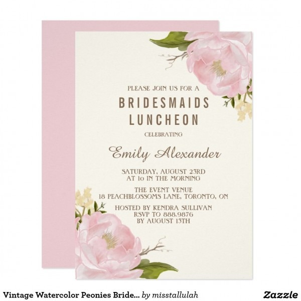 Vintage Watercolor Peonies Bridesmaids Luncheon Invitation In 2018