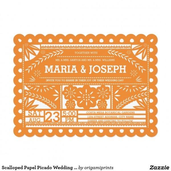 Scalloped Papel Picado Wedding Invite