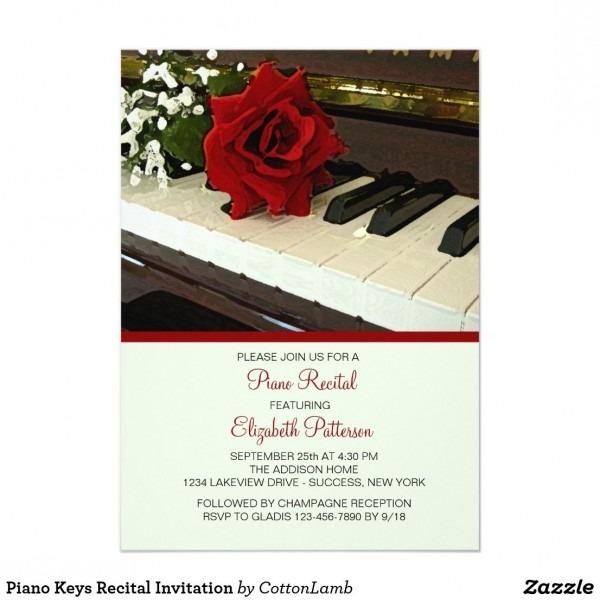 Piano Keys Recital Invitation In 2018