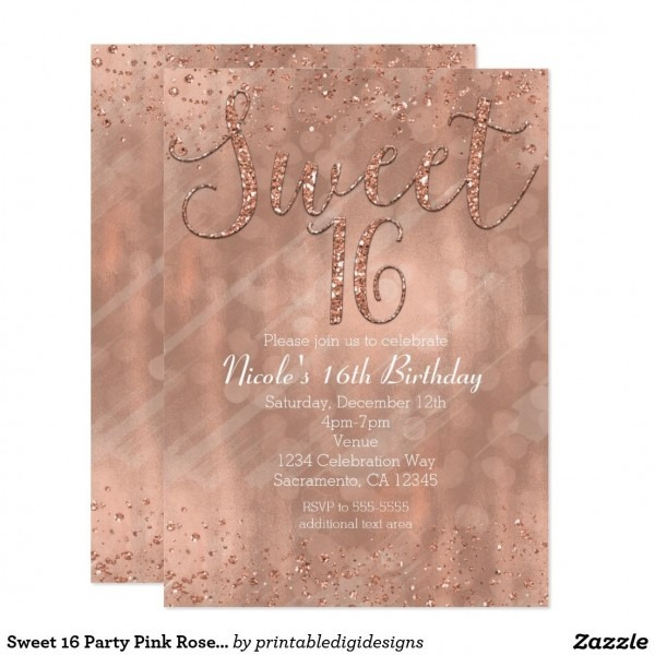 Sweet 16 Party Pink Rose Gold Glamour Invitations In 2018