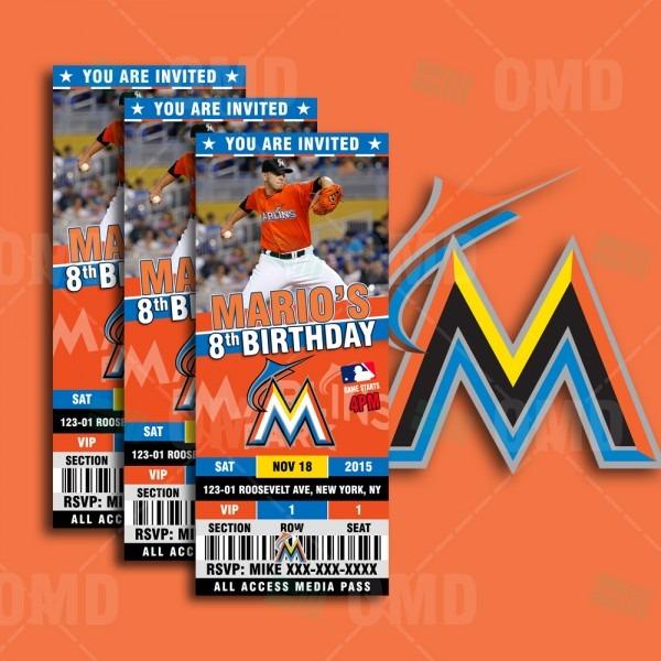2 5×6″ Miami Marlins Sports Party Invitations – Sports Invites