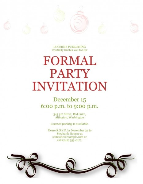Formal Birthday Party Invitations Example For Free Party