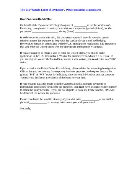 Canada Visa Application Invitation Letter Examle