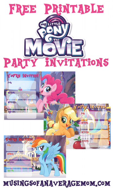 Musings Of An Average Mom  My Little Pony Movie Invitations