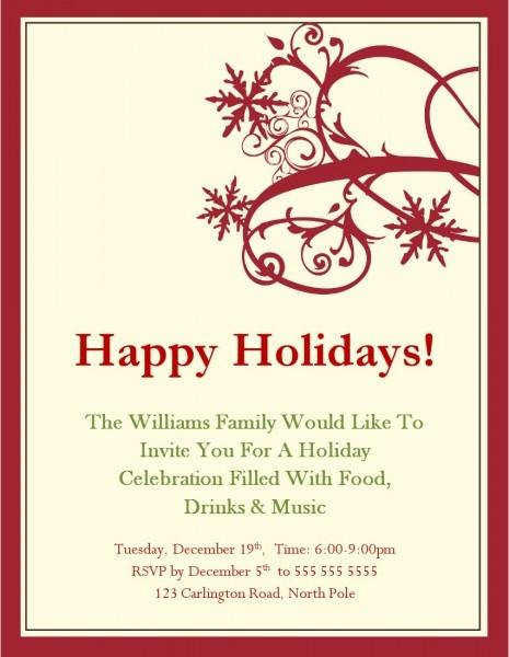 Free Holiday Invitation Templates Word