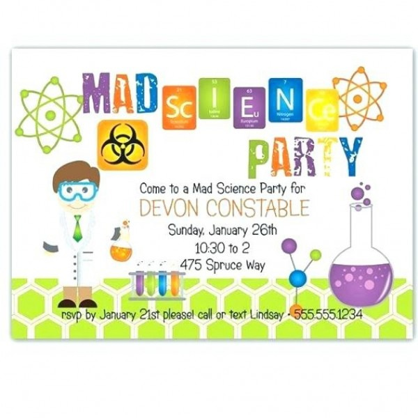 Free Mad Scientist Birthday Party Invitations Personalised Science