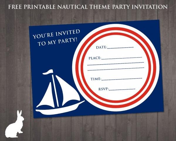 Free Nautical Party Theme Invitation