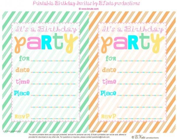 Free Printable Birthday Invitation Ideas Beautiful Printable Kids