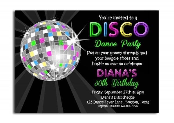 Afbdaddfae New Disco Theme Party Invitations Free