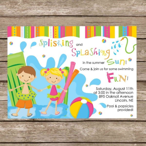 Party Invitation Template Free Printable Pool Party Invitations