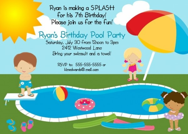 Kids Pool Party Invitations Party Invitation Template For Kids