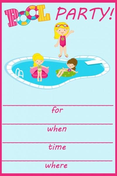 Invitation Ideas  Free Printable Pool Party Birthday Invitations