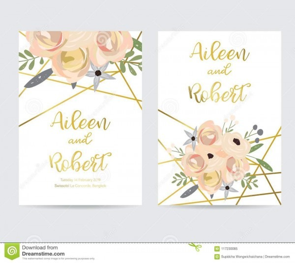 Geometry Gold Wedding Invitation Card With Flower,leaf And Frame