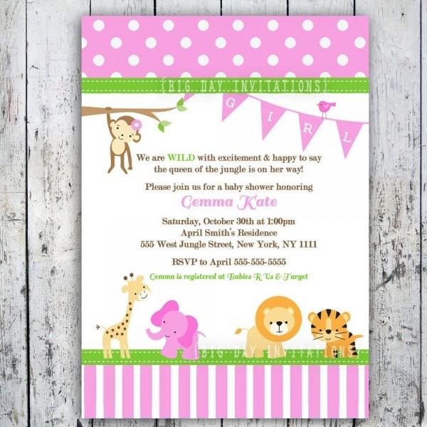 Girl Safari Baby Shower Invitations Safari Baby Shower Invitations
