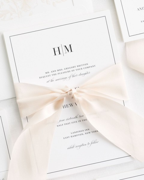 Glam Monogram Ribbon Wedding Invitations