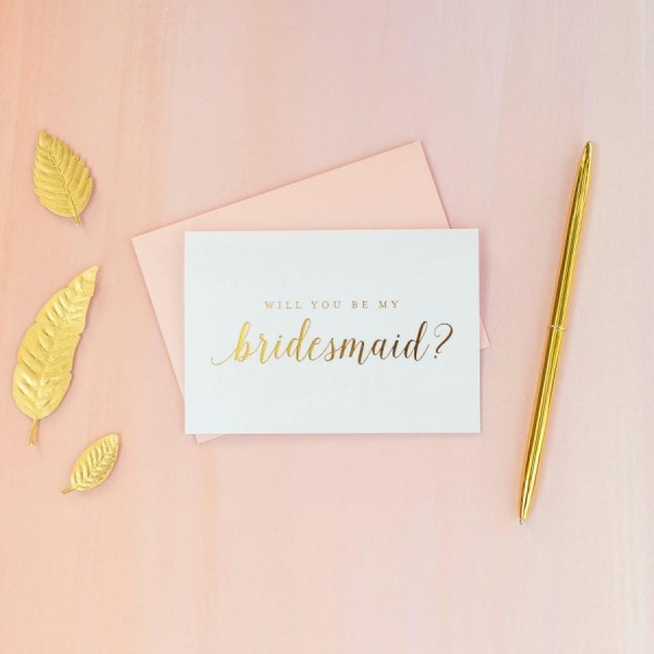 Gold Foil Will You Be My Bridesmaid Card Bridesmaid Proposal
