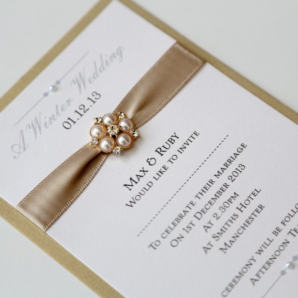Gold & Ivory Flat Wedding Invitation With Pearl Brooch