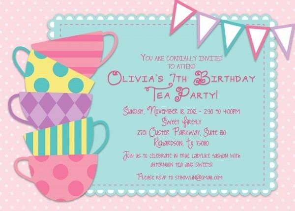 Great Princess Tea Party Invitations 66 In Invitations Templates