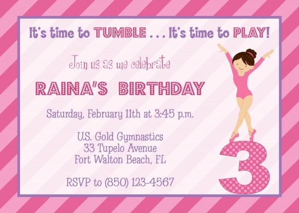 Gymnastics Pink Purple Superb Purple Party Invitations