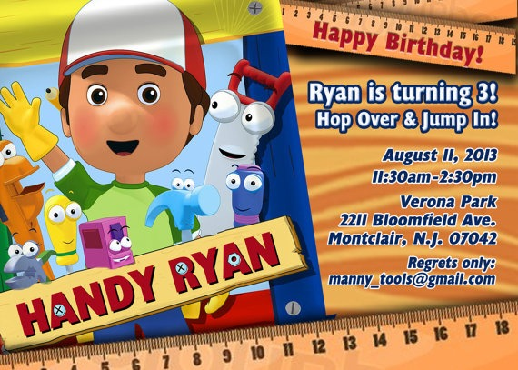 Handy Manny Party Invitations Personalised Handy Manny Birthday