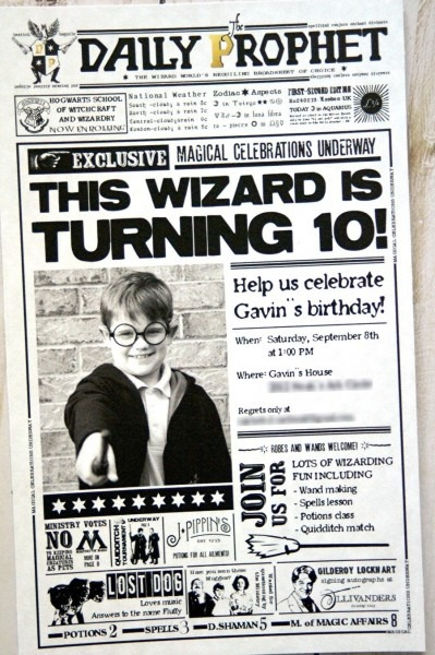 Harry Potter Birthday Invitation