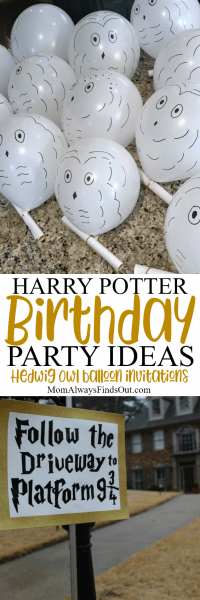 Harry Potter Birthday Party Invitations And Hedwig Owl Balloons