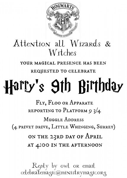 Harry Potter Party Invitations Harry Potter Party Invitations For