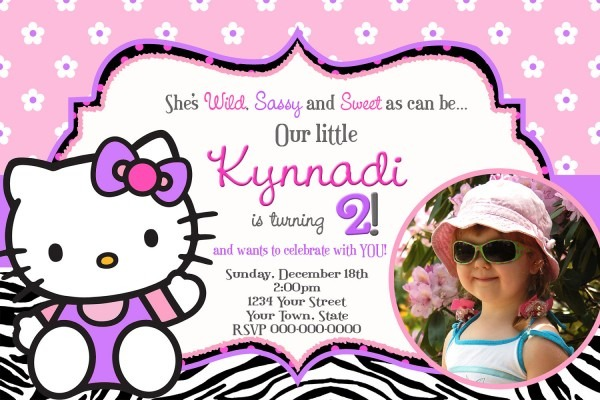 Hello Kitty Birthday Invitations With Stylish Ornaments To