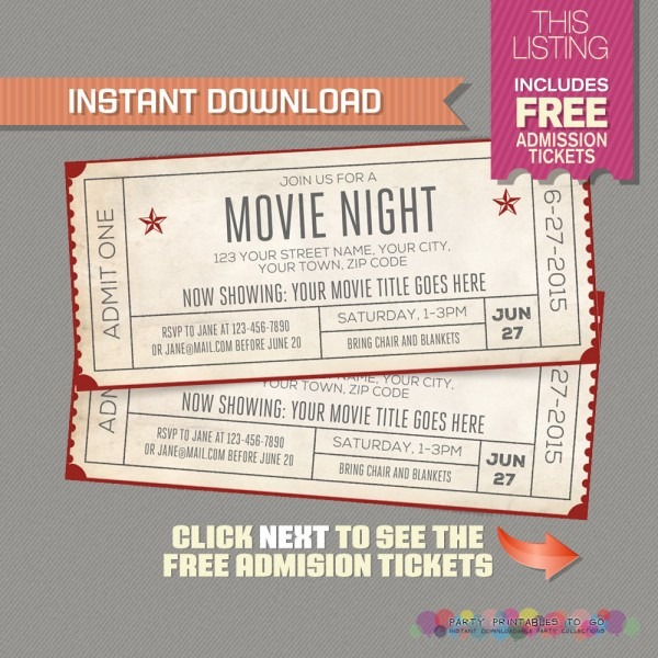 Hollywood Party Invites Printable Movie Themed Invitation Template