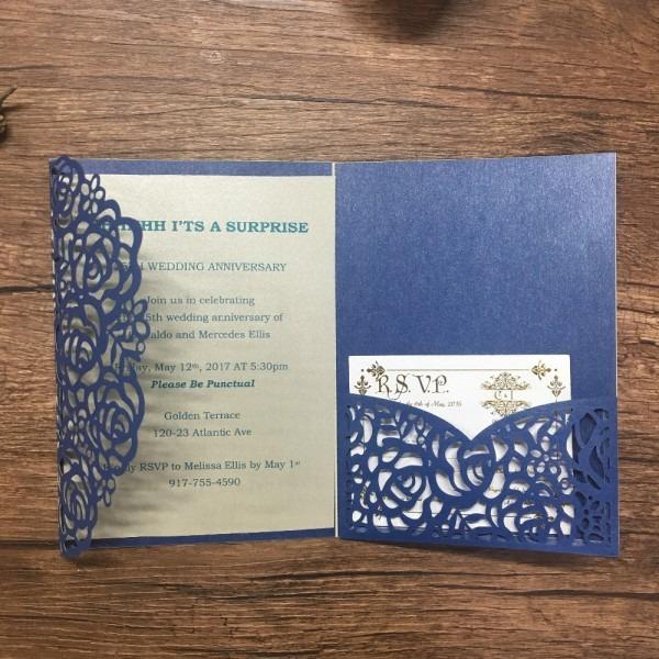 Wedding Invitation Card Laser Cut Rose Vintage Navy Blue Lace