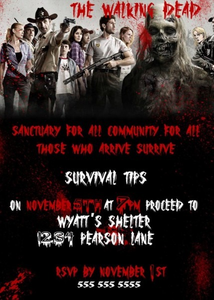 The Walking Dead Party Invitation