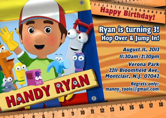 Handy Manny Birthday Invitations Handy Manny Birthday
